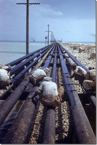 cعمال يعملون في انابيب نفط موصولة من محطة التكرير الى ميناء التصدير