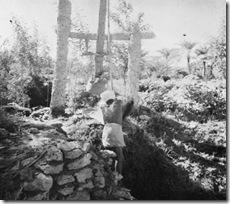 مزارعا بحرينيا يسقي يدويا 1935م